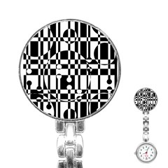 Black and white pattern Stainless Steel Nurses Watch