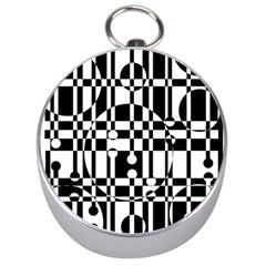 Black and white pattern Silver Compasses