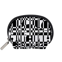 Black and white pattern Accessory Pouches (Small)