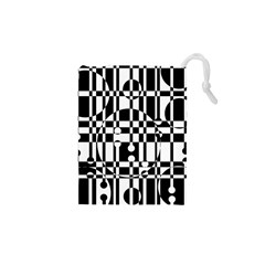 Black and white pattern Drawstring Pouches (XS)