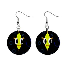 Yellow fish Mini Button Earrings