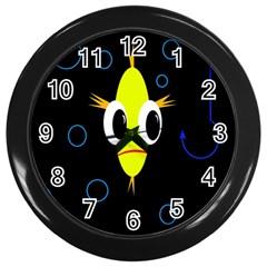 Yellow fish Wall Clocks (Black)