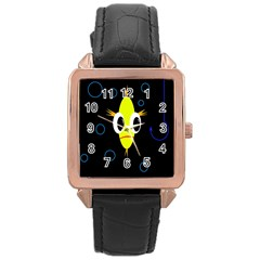 Yellow fish Rose Gold Leather Watch