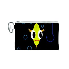 Yellow fish Canvas Cosmetic Bag (S)