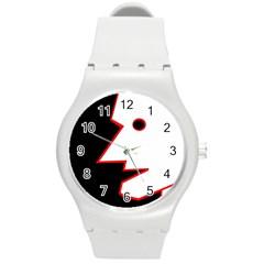 Man Round Plastic Sport Watch (M)