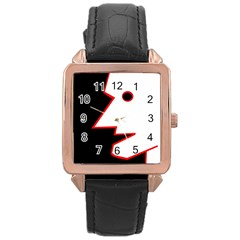 Man Rose Gold Leather Watch