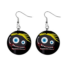 Crazy man Mini Button Earrings