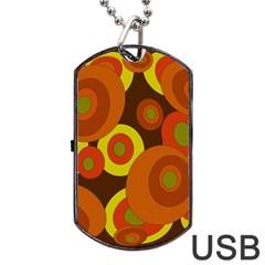 Orange pattern Dog Tag USB Flash (One Side)