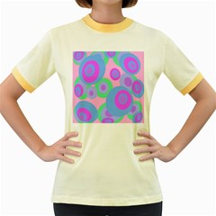 Pink pattern Women s Fitted Ringer T-Shirts