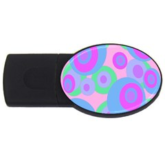 Pink pattern USB Flash Drive Oval (1 GB)