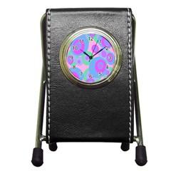 Pink pattern Pen Holder Desk Clocks