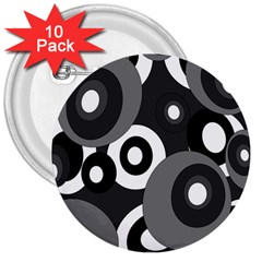 Gray pattern 3  Buttons (10 pack)