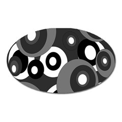 Gray Pattern Oval Magnet