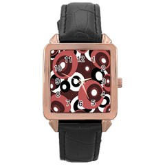 Decorative pattern Rose Gold Leather Watch