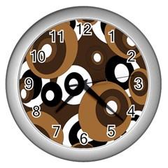 Brown pattern Wall Clocks (Silver)