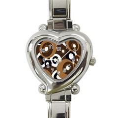 Brown pattern Heart Italian Charm Watch