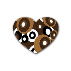 Brown pattern Rubber Coaster (Heart)