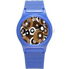 Brown pattern Round Plastic Sport Watch (S)