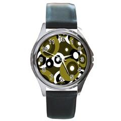 Green pattern Round Metal Watch