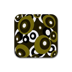 Green pattern Rubber Coaster (Square)