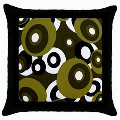 Green pattern Throw Pillow Case (Black)