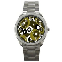 Green pattern Sport Metal Watch