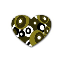 Green pattern Rubber Coaster (Heart)