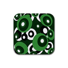 Green pattern Rubber Square Coaster (4 pack)
