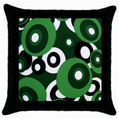 Green pattern Throw Pillow Case (Black)