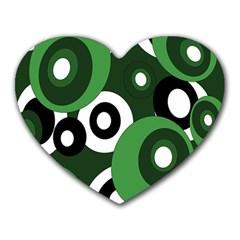 Green pattern Heart Mousepads