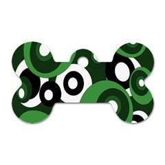 Green pattern Dog Tag Bone (One Side)