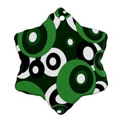 Green pattern Snowflake Ornament (2-Side)