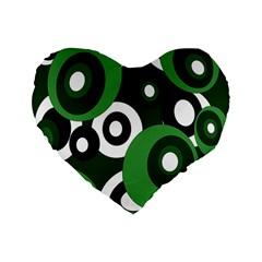 Green pattern Standard 16  Premium Flano Heart Shape Cushions