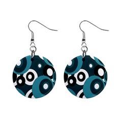 Blue pattern Mini Button Earrings