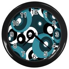 Blue pattern Wall Clocks (Black)