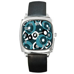 Blue pattern Square Metal Watch