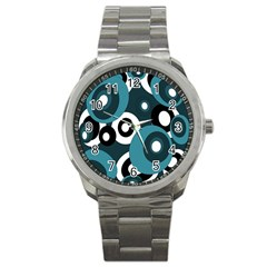 Blue pattern Sport Metal Watch