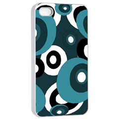 Blue pattern Apple iPhone 4/4s Seamless Case (White)