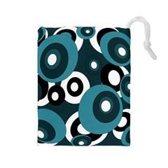 Blue pattern Drawstring Pouches (Large)