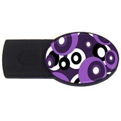 Purple pattern USB Flash Drive Oval (1 GB)