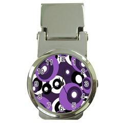 Purple pattern Money Clip Watches