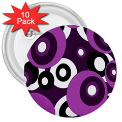 Purple pattern 3  Buttons (10 pack)