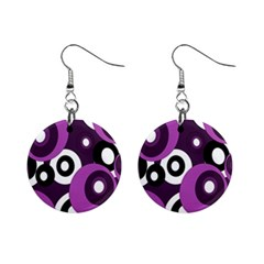 Purple pattern Mini Button Earrings