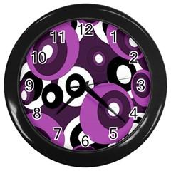 Purple pattern Wall Clocks (Black)