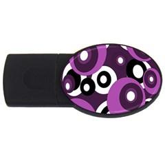 Purple pattern USB Flash Drive Oval (1 GB)