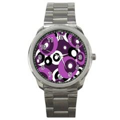 Purple pattern Sport Metal Watch