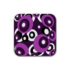 Purple pattern Rubber Square Coaster (4 pack)