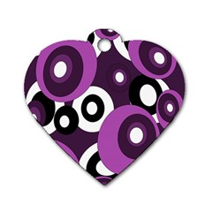 Purple pattern Dog Tag Heart (Two Sides)