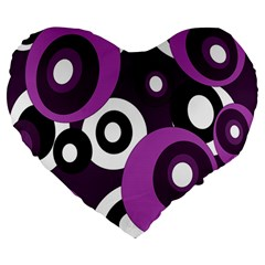 Purple pattern Large 19  Premium Heart Shape Cushions
