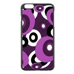 Purple pattern Apple iPhone 6 Plus/6S Plus Black Enamel Case